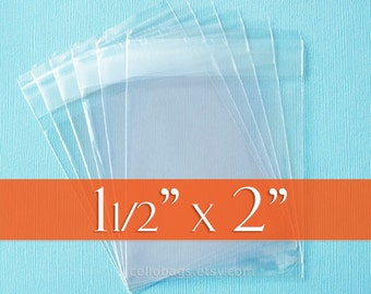 """100 Resealable 1.5 x 2 inch Clear Cello Bags, 1.8 mil Cellophane OPP Poly Plastic Packaging, Acid Free (1 1/2"""" x 2"""") - Flap Self Adhesive"""