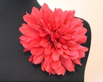 Silk flower brooch etsy pink dahlia silk flower hair andor brooch pin accessory mightylinksfo
