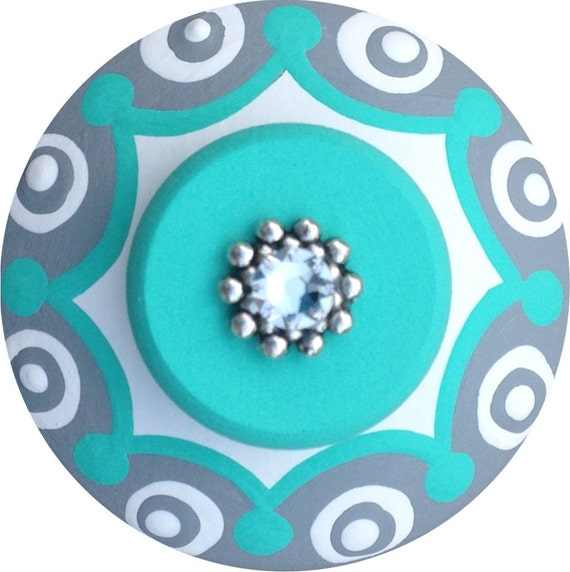 Turquoise Grey Knobs Jeweled Knobs Hand Painted Knobs Wood