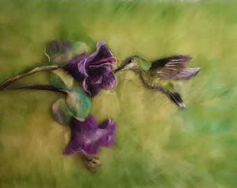 Painting of wool hummingbird green purple Picture