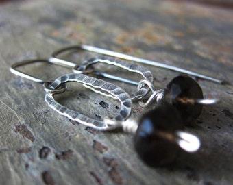 Smoky Quartz Swing Earrings - smoky quartz & sterling silver earrings w/ hammered texture