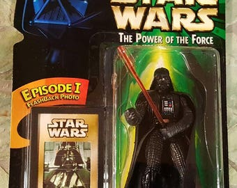 """Star Wars The Power of the Force DARTH VADER 3 3/4"""" Action Figure New in Package, VINTAGE Star Wars Figure w/Episode I Flashback Photo"""