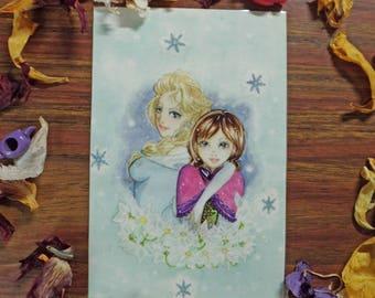 Laminated card, Frozen, Elsa and Anna