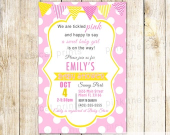 Pink Yellow Baby Shower Invitation Card - Baby Girl Sprinkle Printable Invite Personalized Polka Dots Bunting Banner Modern  Ribbon