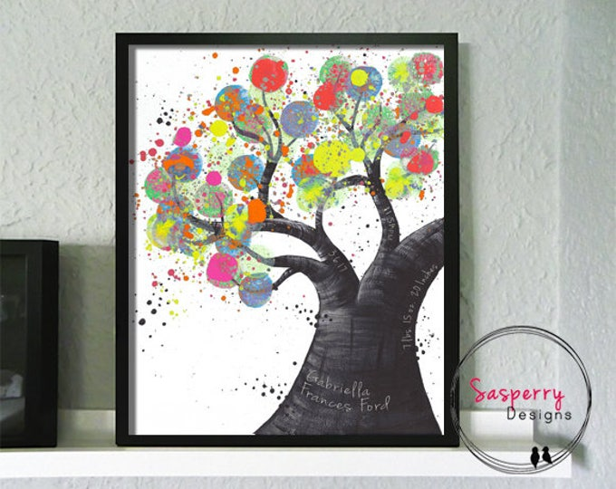 Newborn Birth Announcement Wall Art - Tree of Life Turquoise Nursery Print For Baby Stats - Baby Poster Birth Print -  Lavender Nursery Gift