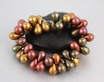 Glass Teardrop Beads - Matte Metallic - Teardrop Beads - 5 x 7mm