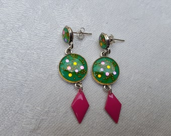 Colorful childish, turquoise and roses, rhinestones and enamel earrings