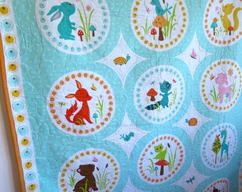 Baby quilt, baby boy quilt, baby animals quilt, blue orange