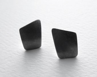 On Sale Small Oxidized Stud Earrings convex half inch sterling silver eco friendly modern geometric