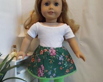 Jupe fleurie verte et legging assorti--convient 18 poupée COMME American GIrl