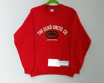 Rare!! Ecko sweatshirt spellout pull over jumper sweater hip hop red colour medium size