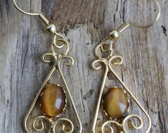 Golden Tiger Eye Gold Plated Earrings - Item 1005