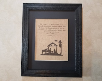 For Unto Us A Child Is Born, Christmas Decor, Burlap Print, Religious Christmas, Isaiah 6:9
