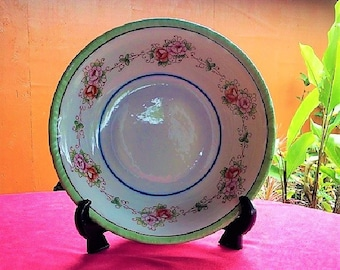 Made in Occupied Japan Hand Painted Ceramic Serving Bowl, 1940's Hand Made Porcelain Serving Dish With Hand Painted Flowers, Collectible