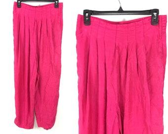 Large Hot Pink 100% Silk Harem Pants - Thin, Loose Silk Pants High Waisted Stetch Waistband