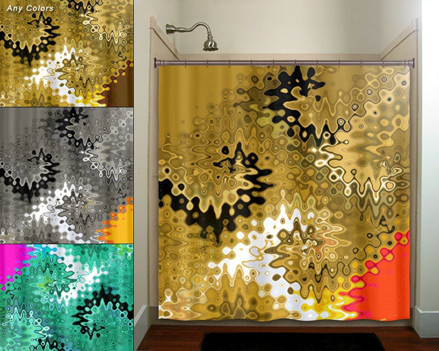 beautiful golden brown turquoise red gold shower curtain