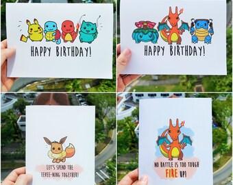 Pokemon 4 Card Bundle! Birthday Motivational Valentines Love DIGITAL DOWNLOAD