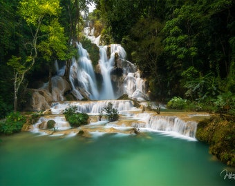 Laos waterfall print, Asia nature photography prints, Luang Prabang, landscape wall art, jungle waterfall photo, turquoise, forest decor