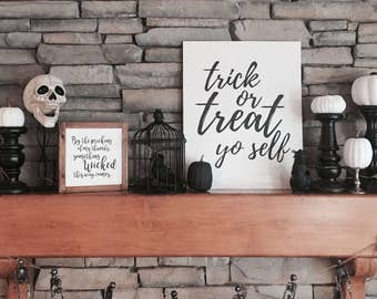 Something Wicked This Way Comes Sign | Home Decor | Shelf Sitter | Halloween | Square Wood Sign | Gift | Holiday Decor | Rustic Decor