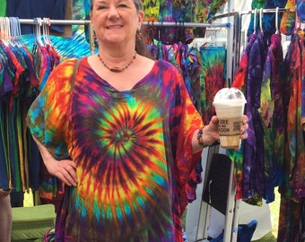 African Sun Rayon Gauze Tie-dyed Poncho