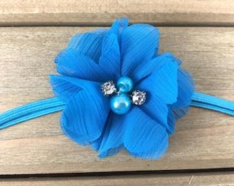 Turquoise Flower Headband, Turquoise baby headband, Baby Girl Headband, Baby Headband, Newborn Headband, newborn photoshoot, baby shower