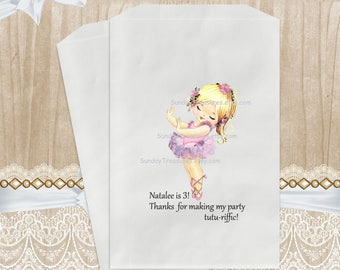 12 Pak Boho Ballerina Girl Party Favor Gift Bags / 5x7 / Options Pink or Blue TUTU / Pick Age 1 2 3 4 5 6 7 8 9 10 Candy Buffet  3 Day Ship