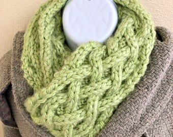 Green Cable Knit Scarf, Long Knitted Scarf, Chunky Scarf, St. Patricks Day Scarf, Celtic Scarf, Lucky Scarf, Womens Scarf, Mens Scarf