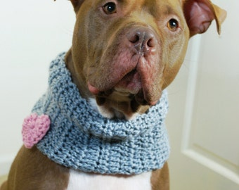 Crochet Dog Cowl Grey with Pink Heart Made to Order