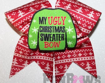 My Ugly Christmas Sweater Bow - 3-D cutout glitter cheer bow by FunBows !