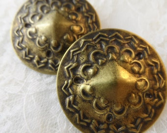"Vintage gold or silver plate brass hammered disc earring blanks ,2"",2pcs-KC31"