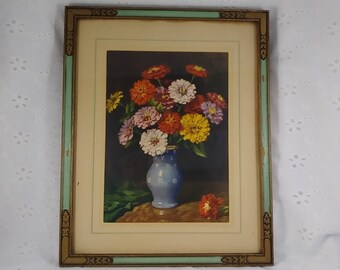 Vintage Print in Wooden Frame - Still Life of Flowers in Vase