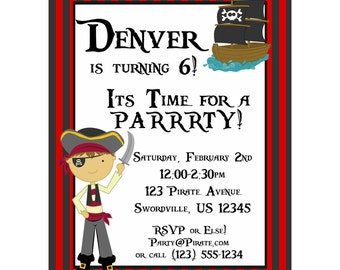 Pirate Invitation - Red and Black Striped Pirate Boy and Pirate Ship Personalized Birthday Party Invite - a Digital Printable File