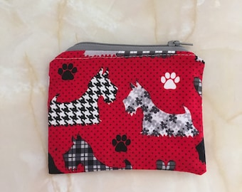 Dog fabric coin purse, scotty purse, westie purse, small purse, zip purse, stocking filler