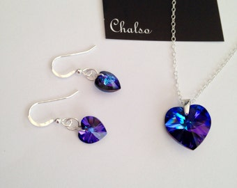 Mothers Day gift, sparkly Heliotrope Swarovski hearts with Sterling silver, blue heart, purple heart, Crystal anniversary gift, girlfriend