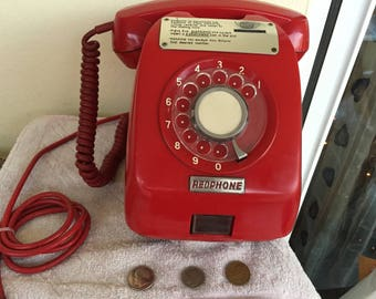 PAY PHONE VICTA (Red rotary dial)Tamura electric-works- Greece.