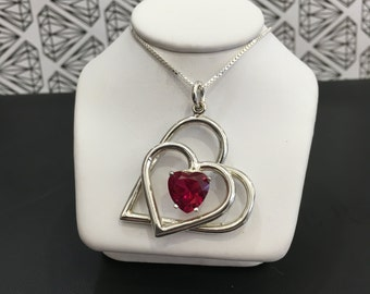 Sterling Silver Double Heart With CZ heart Necklace