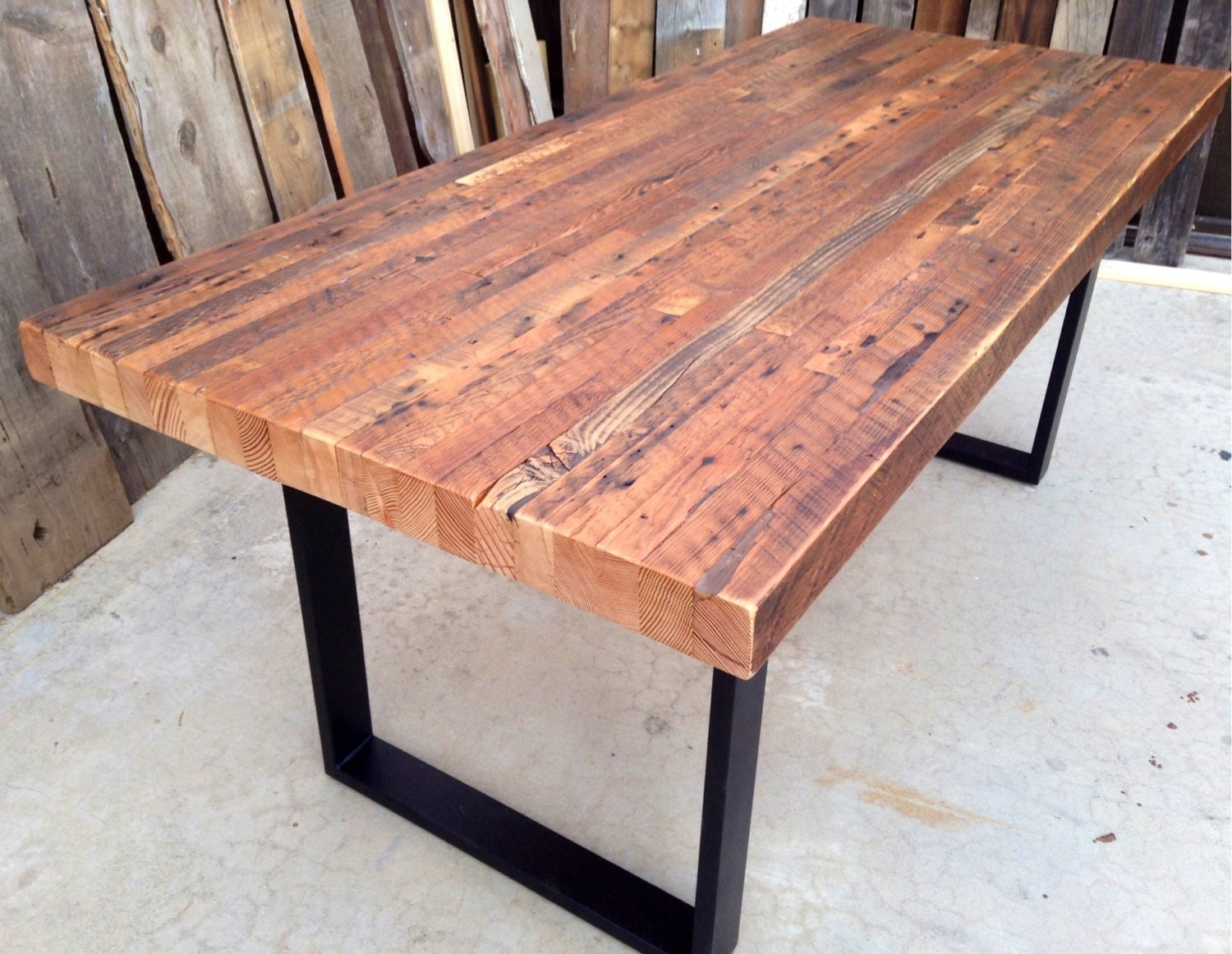 Custom outdoor indoor exposed edge rustic industrial for Barnwood outdoor table