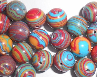Natural round multicolor striped 10 mm Agate bead. (9272195)