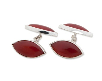 Red Agate Cuff Links Double Lozenge Sterling Silver 925