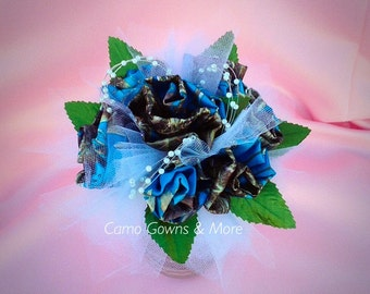 Camo Bridesmaids Bouquet with Rhinestone Crystal Wrapped Stem