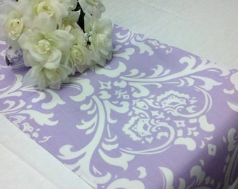 """LAVENDER DAMASK LINENS -Table Runner or Napkins, or Placemats, White on Wisteria, Lilac  Lavender  Wedding, Shower Gift,  Bridal 12"""" Wide"""