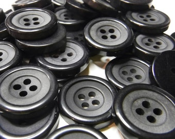 14 Black with Gray Center Round Buttons Size 11/16""