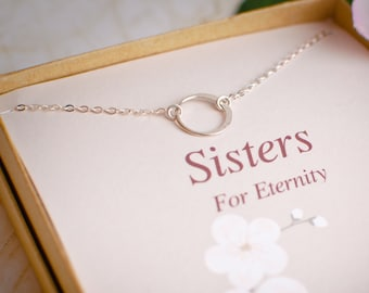 Sterling Silver Eternity Necklace - Sisters necklace - Gift for Sister - Bridesmaid Gift - Tiny Silver Necklace - Dainty Simple Circle