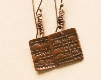 Copper Earrings, Hammered Copper, Square Earrings, Stamped Earrings, Dangle Earrings, Textured Earrings, Silver Earwires,