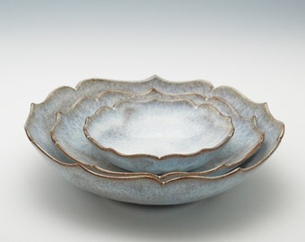 Shiny Snowy-White Lotus Bowl Set