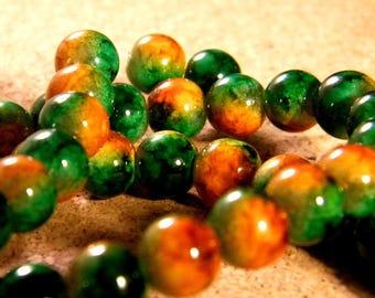 20 beads 8 mm glass 2 tone orange and green PE202 5