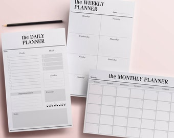 Printable Planner Pages, Daily, Weekly and Monthly Planners, Half-Size 8.5 x 5.5 Minimal Planners, To Do Lists, Digital INSTANT DOWNLOAD