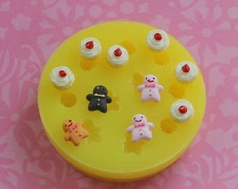 Tiny Cupcake Mold Miniature Sweets Dollhouse Mold Tiny Fake Food Dollhouse Food Mold Frosting  Resin Polymer Clay Molds