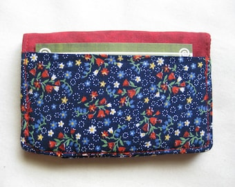 Business Card Holder Mini Wallet- Bifold Inside Outside Wallet in Navy Blue Calico with Red Patriotic