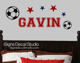 SOCCER DECAL -  Sports Decal - Kids Decal - Soccer Sticker - Boys Room Decal - Vinyl Wall Decals